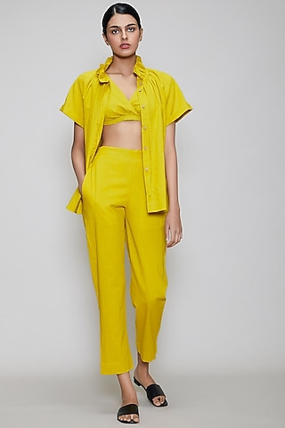 Yellow Handwoven Cotton Pant Set by Mati