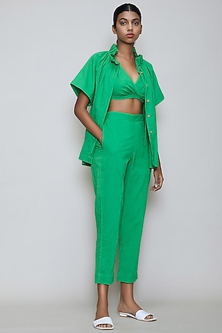 Green Handwoven Cotton Pant Set by Mati
