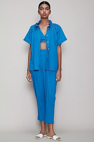 Blue Handwoven Cotton Pant Set by Mati