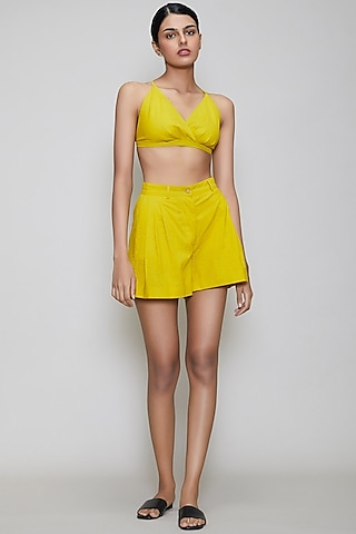 Yellow Handwoven Cotton Bralette by Mati