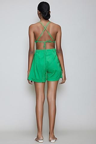 Green Handwoven Cotton Bralette by Mati