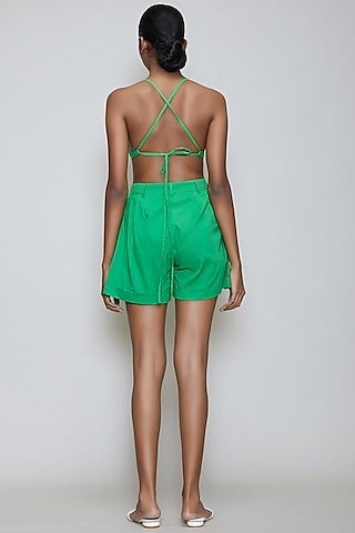Green Handwoven Cotton Shorts by Mati