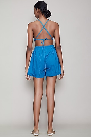 Blue Handwoven Cotton Shorts by Mati