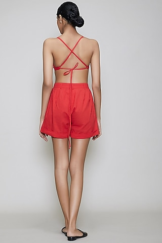 Red Handwoven Cotton Shorts With Bralette by Mati