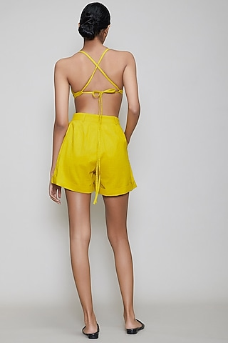 Yellow Handwoven Cotton Shorts With Bralette by Mati