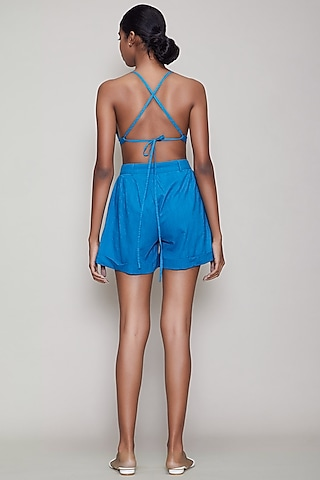 Blue Handwoven Cotton Shorts With Bralette by Mati