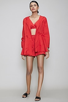 Red Handwoven Cotton Jacket Set by Mati