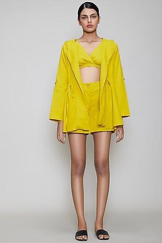Yellow Handwoven Cotton Jacket Set by Mati