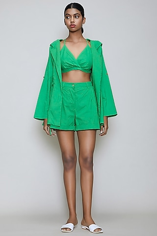 Green Handwoven Cotton Jacket Set by Mati