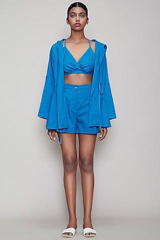 Blue Handwoven Cotton Jacket Set by Mati