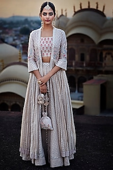 Beige Floral Embroidered Jacket Lehenga Set by Matsya