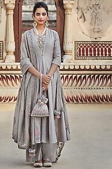 Grey Embroidered Sharara Set by Matsya