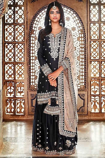 Navy Blue Hand Embroidered Sharara Set by Matsya