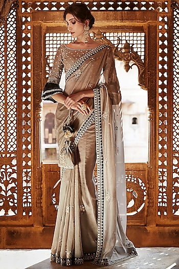 Brown Hand Embroidered Saree Set by Matsya