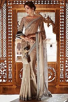 Brown Hand Embroidered Saree Set by Matsya