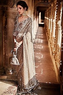 Mouse Grey Embroidered Saree Set by Matsya
