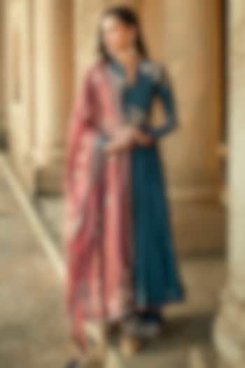 Blue Embroidered Anarkali Set by Matsya