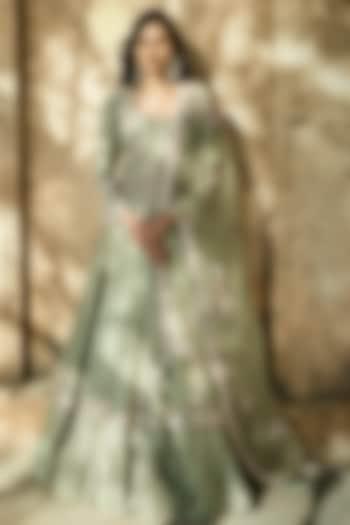 Pista Green Embroidered Lehenga Set by Matsya