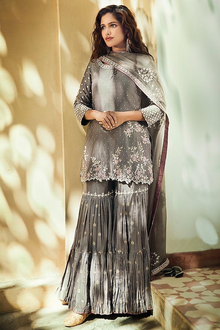 Grey Chanderi Silk Kurta Set by Matsya