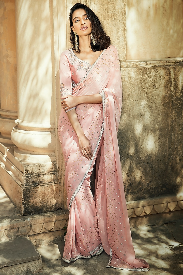 Pink Embroidered Saree Set by Matsya