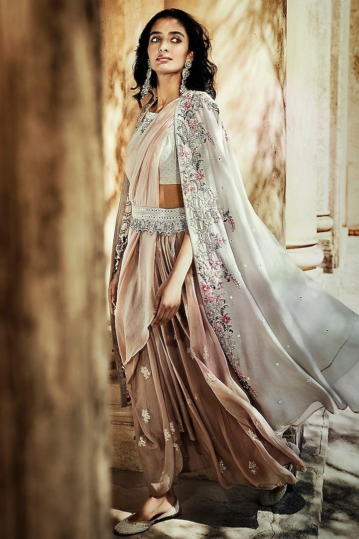 Rose Pink Skirt Set With Banarasi Motifs by Matsya
