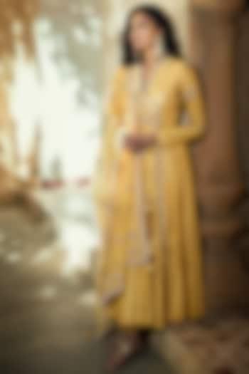 Yellow Zardosi Embroidered Angrakha Anarkali Set by Matsya