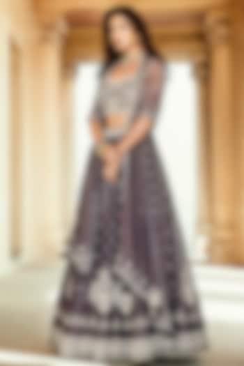 Lilac Lehenga Set With Sequins Work by Matsya