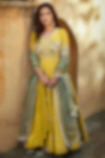 Yellow Embroidered Anarkali Set by Matsya