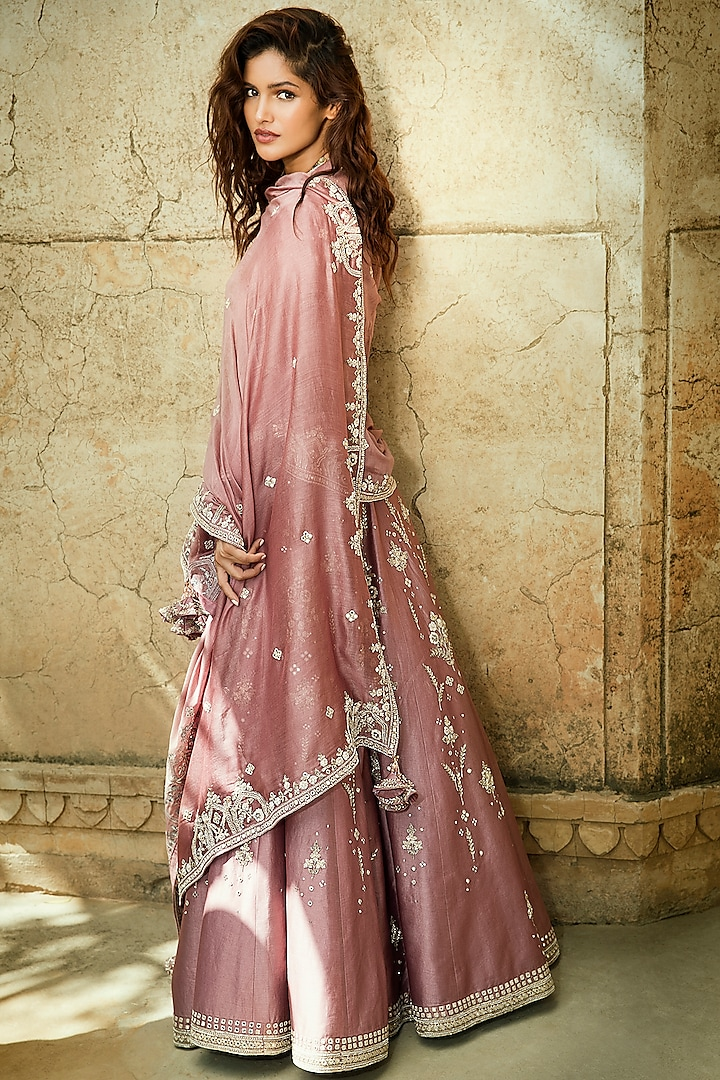 Old Rose Pink Embroidered Lehenga Set by Matsya