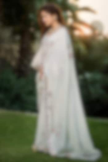 White Chanderi Silk Saree Set by Matsya