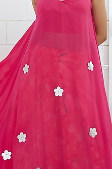 Fuchsia Embroidered Asymmetric Tunic by Mandira Wirk