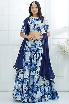 Royal Blue Printed & Embroidered Lehenga by Mandira Wirk