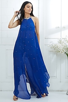 Blue Ombre Embroidered Dress by Mandira Wirk