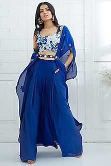 Blue Ombre Pleated Palazzo Pants by Mandira Wirk
