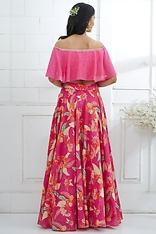 Fuchsia Embroidered Top With Printed Lehenga by Mandira Wirk