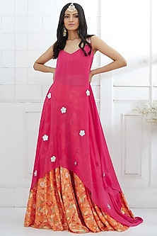 Fuchsia Embroidered Tunic With Printed Lehenga by Mandira Wirk