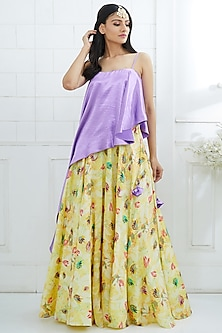 Lilac Top With Printed Lehenga by Mandira Wirk