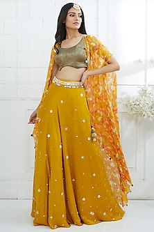 Mustard & Gold Embroidered Printed Cape Lehenga Set by Mandira Wirk