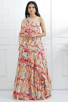 Multi Colored Printed Tunic With Lehenga by Mandira Wirk
