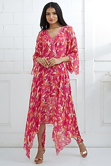 Fuchsia Digital Printed Dress by Mandira Wirk