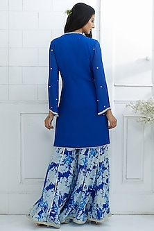 Royal Blue Embroidered Kurta With Printed Sharara Pants by Mandira Wirk