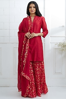 Red Embroidered & Printed Sharara Set by Mandira Wirk