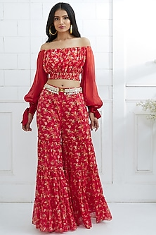 Red Printed Top With Tiered Sharara Pants by Mandira Wirk