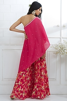 Fuchsia Embroidered Tunic With Printed Sharara Pants by Mandira Wirk
