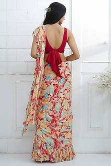 Red Embroidered & Printed Ruffled Saree Set by Mandira Wirk