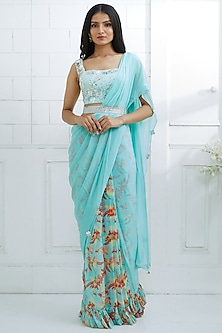 Aqua Blue Embroidered & Printed Pre-Stitched Saree Set by Mandira Wirk
