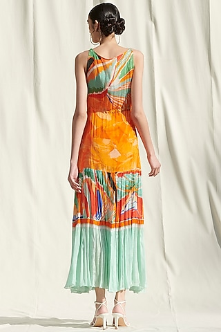 Orange Printed Dress by Mandira Wirk