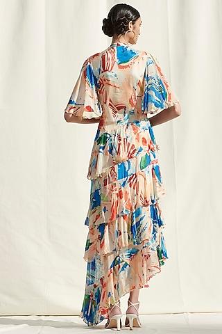 White Printed Asymmetric Dress by Mandira Wirk