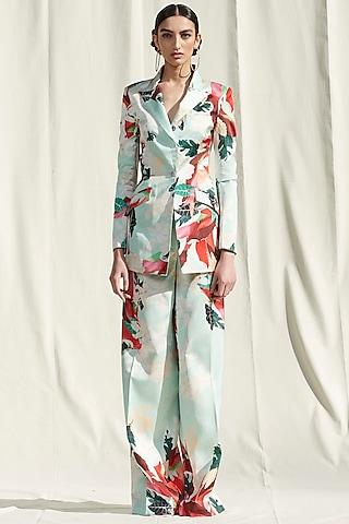 Light Blue Printed Pant Set by Mandira Wirk