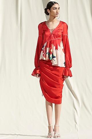 Red Printed Draped Skirt Set by Mandira Wirk